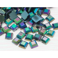 10 carrés pétrôle irisés 4mm