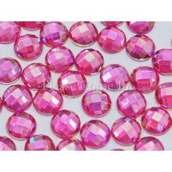 10 strass ronds rose irisés 5mm