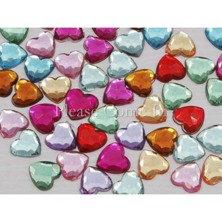 10 strass coeur 6 mm couleurs en mélange