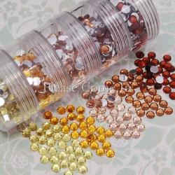 Assortiment de strass 5 mm jaune/or/marron