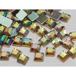 10 strass carrés or antique 4mm