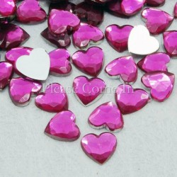 10 strass coeur 8 mm rose