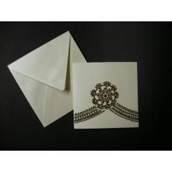 Faire-part carte & enveloppe ivoire irisé 15
