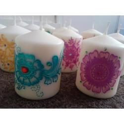 Lot de 50 bougies décorées à l'acrylique et strass