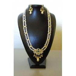 Longue parure Bollywood perle et strass bleu