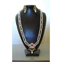 Longue parure Bollywood perle et strass rouge