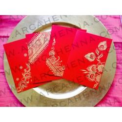 Lot de 4 faire-part cartes & enveloppes rouge irisé