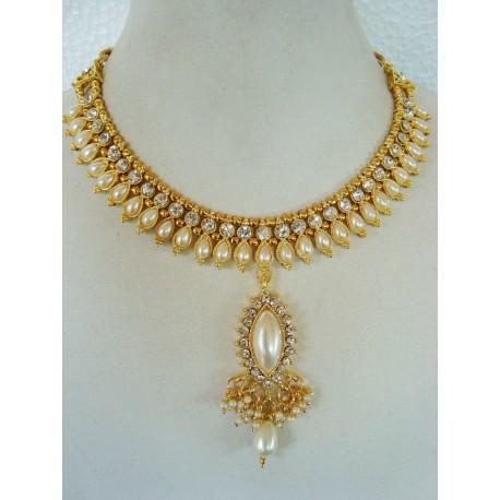 Parure d'artisanat indien bollywood blanc perle 6