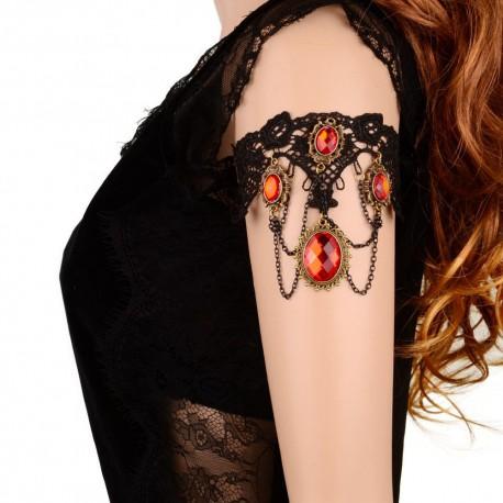 Bracelet et tour de bras en dentelle noire et perles