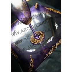 Plateau miroir Baroque Violet - Or