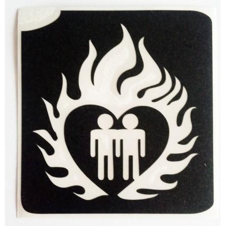 pochoir couple coeur flammes