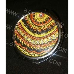 Miroir de poche décoré à la main or et cuivre