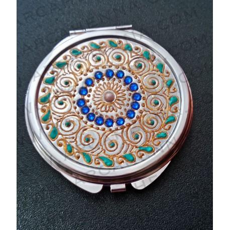 Miroir de poche décoré à la main bleu et or