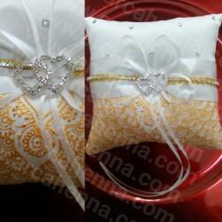 Coussin d'alliance décoré et personnalisable, doré avec cristaux