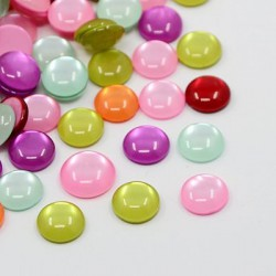 Cabochons de résine, imitation oeil de chat, plat rond, couleur mélangée, 10x3 mm