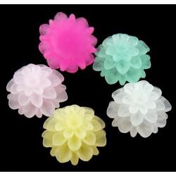 Cabochons de résine fleur, couleur mélangée 15 mmx 8 mm