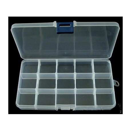 Boîte de rangement pour cristaux 15 compartiments