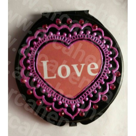 """Miroir de poche décoré à la main noir et fuchsia """"LOVE"""""""
