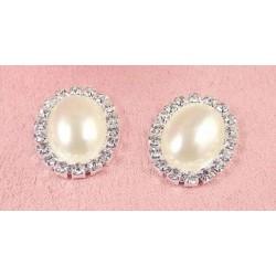 Boutton perle ovale et cristal
