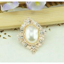 Bouton baroque perle et cristal