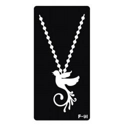 pochoir collier oiseau F-91