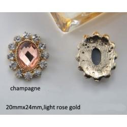 Bouton baroque champagne perle ou cristal