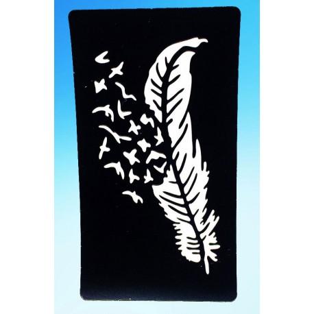 pochoir plume et oiseaux