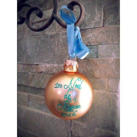 "Boule de Noel en verre ""1er Noel"" personnalisable"