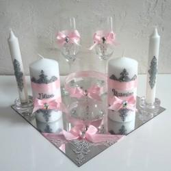 Plateau de mariage XL rose et blanc motifs fessi