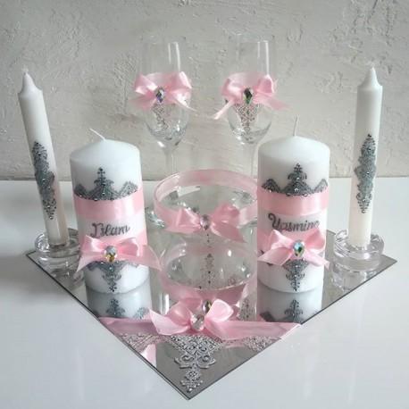 Plateau de mariage rose et blanc motifs fessi