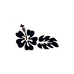 pochoir fleur d'hibiscus et feuilles